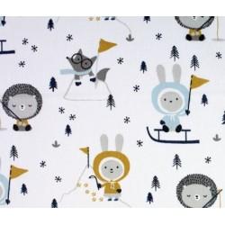 Tissu coton imprimé Skimo jeux d'hiver