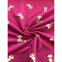 Tissu french terry motif renard fond rose