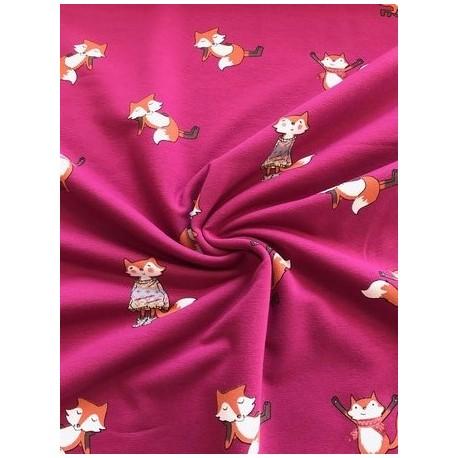 Tissu french terry motif renard fond rose