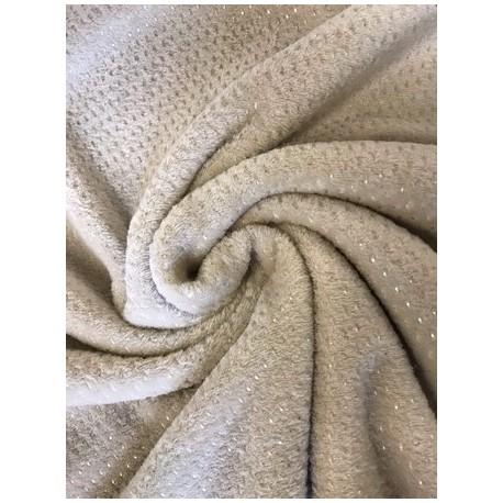 Tissu doudou coloris sable pois argent x 50cm