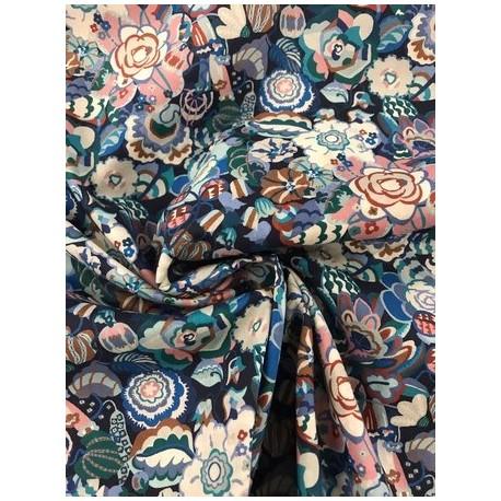 "Tissu liberty ""Gatsby garden"" Bleu x 50cm"