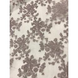 Tissu dentelle brodée floral coloris mauve
