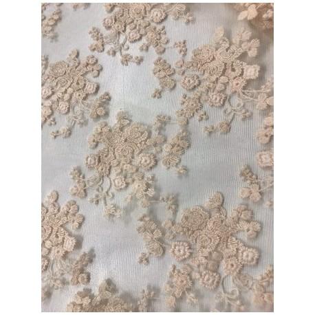 Tissu dentelle brodée floral coloris beige x 50cm