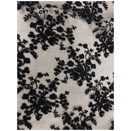 Tissu dentelle brodée floral coloris noir x 50cm