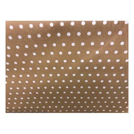 Toile enduite pois blanc fond clair x 50cm