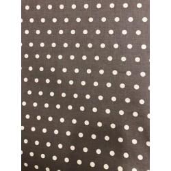 Toile enduite pois blanc fond foncé x 50cm