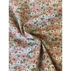 Tissu coton cretonne fleurs rose