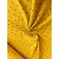 Jersey motif ancre marine fond jaune x 50cm