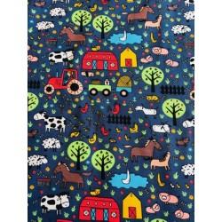 Jersey motif animaux de la ferme x 50cm