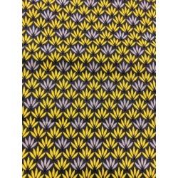 """Tissu coton """"DRENEC"""" fleurs taupe et moutarde x 50cm"""