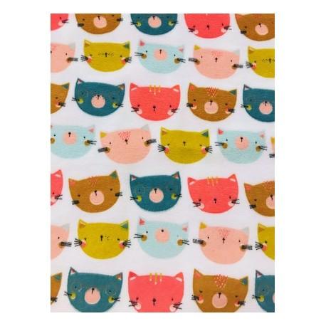 Tissu velours têtes de chats multicolore x 50cm