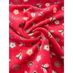 Tissu velours fleurs et papillons fuschia x 50cm