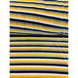 Tissu velours rayures multicolore x 50cm