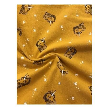 Tissu coton licorne ocre x 50cm