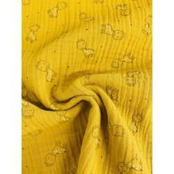 Tissu triple gaze moutarde motif girafe x 50cm