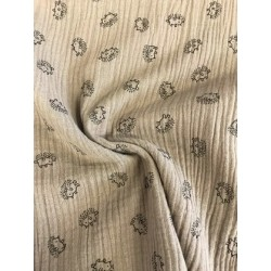 Tissu double gaze taupe motif hérisson x 50cm