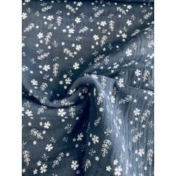 Tissu double gaze bleu motif floral x 50cm