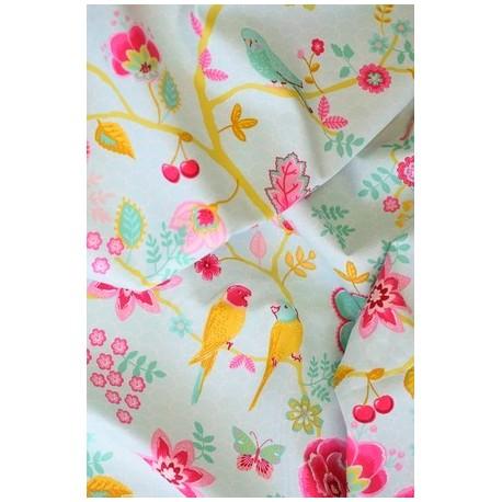 Tissu coton motif floral & oiseaux x 50cm