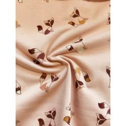 Jersey motif renard fond rose x 50cm