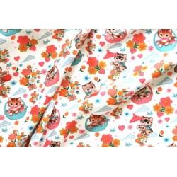 Jersey motif chatons fond blanc x 50cm