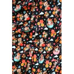 Jersey motif chatons fond noir x 50cm