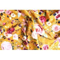 Jersey imprimés floral moutarde x 50cm