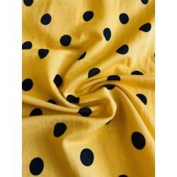 Viscose motif pois moutarde x 50cm