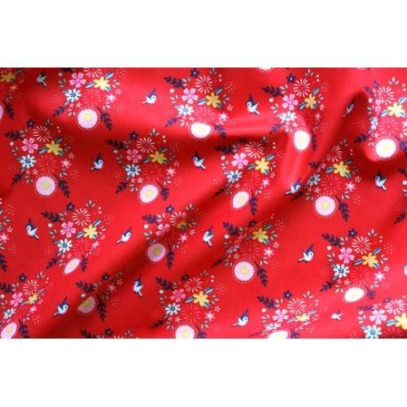 Tissu popeline oiseaux fond rouge x 50cm