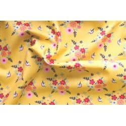 Tissu popeline oiseaux fond jaune x 50cm
