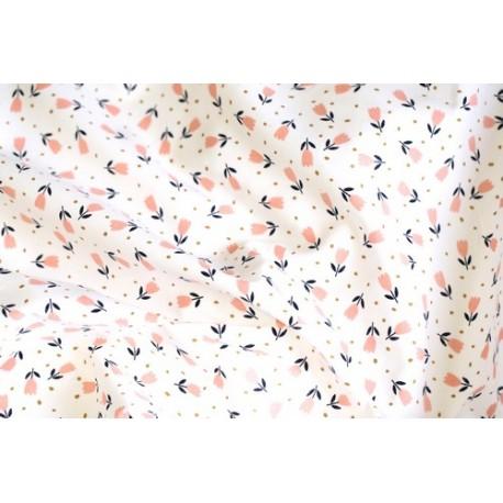 Tissu velours cotelé floral fond blanc x 50cm