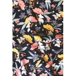 Viscose motif floral noir x 50cm