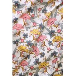 Viscose motif floral blanc x 50cm