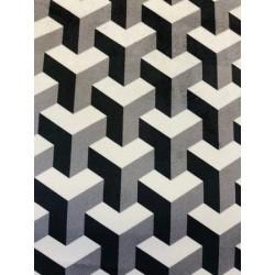 Velours effet graphique noir et blanc x 50cm