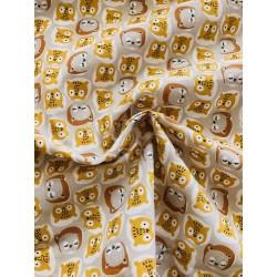 Tissu cretonne motif Chouco x 50cm