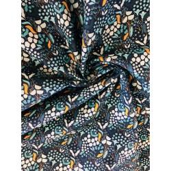 Tissu coton motif floral et plumes x 50cm