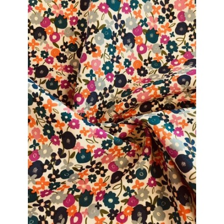 Tissu coton floral multicolore x 50cm