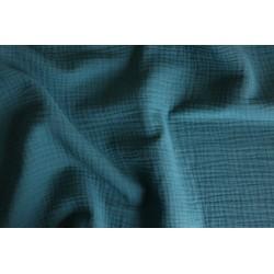 Double gaze de coton bleu paon x 50cm