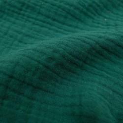 Double gaze de coton vert sapin x 50cm