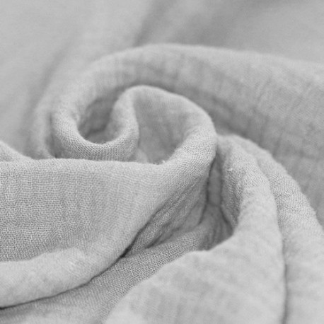 Double gaze de coton gris clair x 50cm