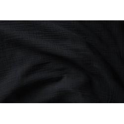 Double gaze de coton noir x 50cm