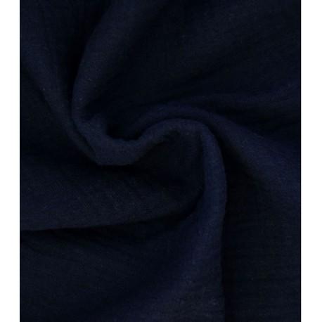 Double gaze de coton bleu marine x 50cm