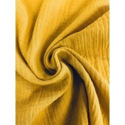 Double gaze de coton jaune moutarde x 50cm