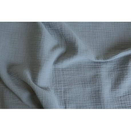 Double gaze de coton bleu gris x 50cm