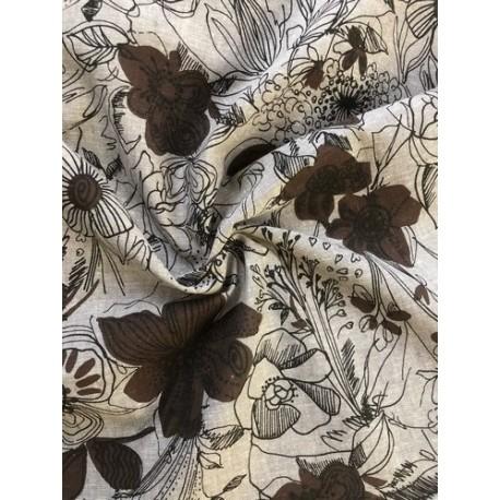 Lin motif floral marron x 50cm