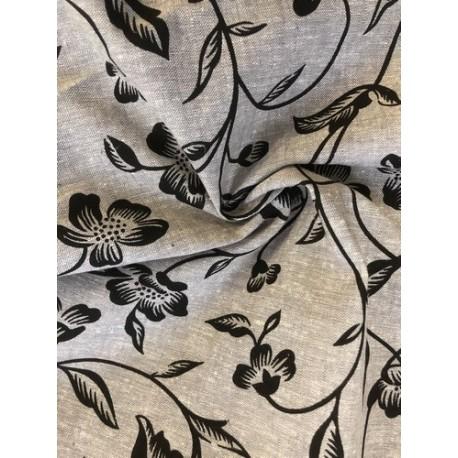 Lin motif floral noir x 50cm