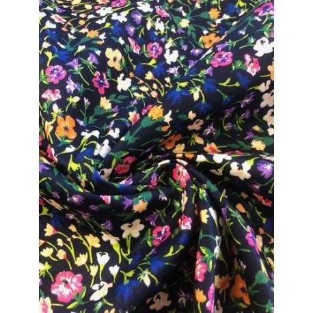 Coton motif floral bleu marine x 50cm