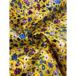 Coton motif floral jaune x 50cm