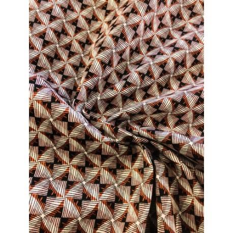 Coton motif géométrique rouille x 50cm