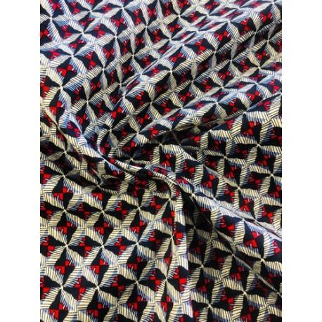 Coton motif géométrique bleu x 50cm