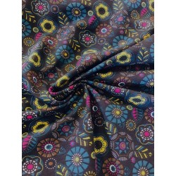 Jersey motif cercles et feuilles x 50cm